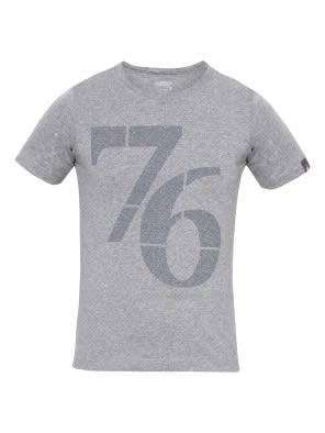 Grey Melange Print 24 Boys Printed T-Shirt