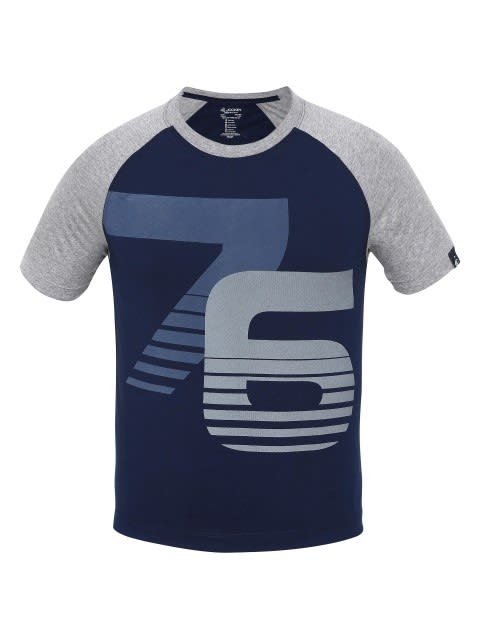 Navy & Grey Melange Print26 Boys Raglan Printed T-Shirt