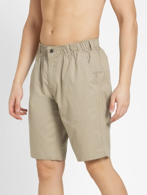 Khaki Straight fit Shorts