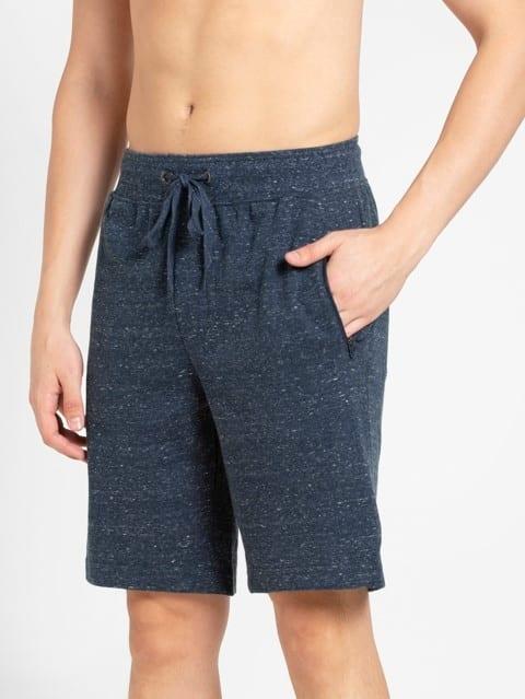 Blue Snow Melange Straight fit Shorts