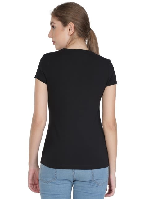 Black Print145 Crew Neck Graphic T-shirt