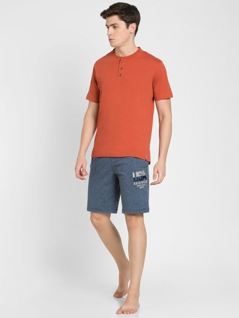 Navy Grindle Straight fit Shorts