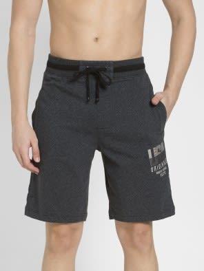 True Black Melange Straight fit Shorts