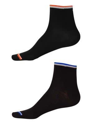 Black FL Orange & Royal Blue Men Ankle Socks Pack of 2