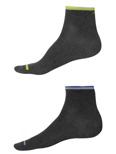 Charcoal FL Yellow & Royal Blue Men Ankle Socks Pack of 2