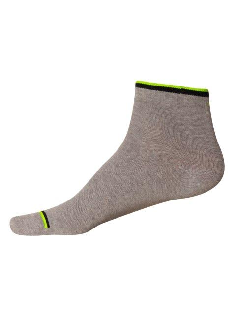 Grey FL Orange & FL Yellow Men Ankle Socks Pack of 2