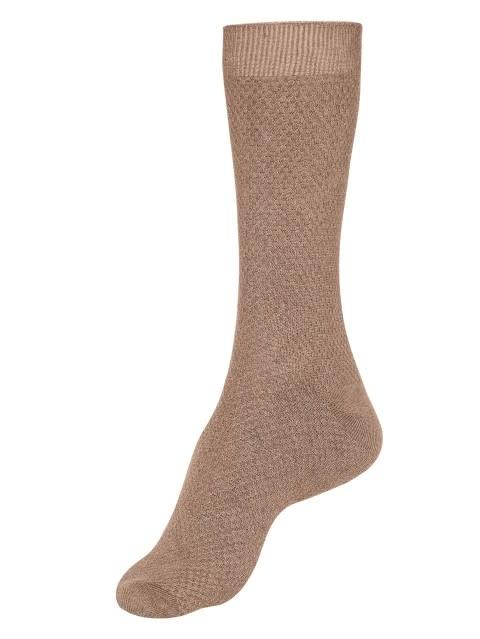 Brown Melange Des1 Men Calf Length Socks