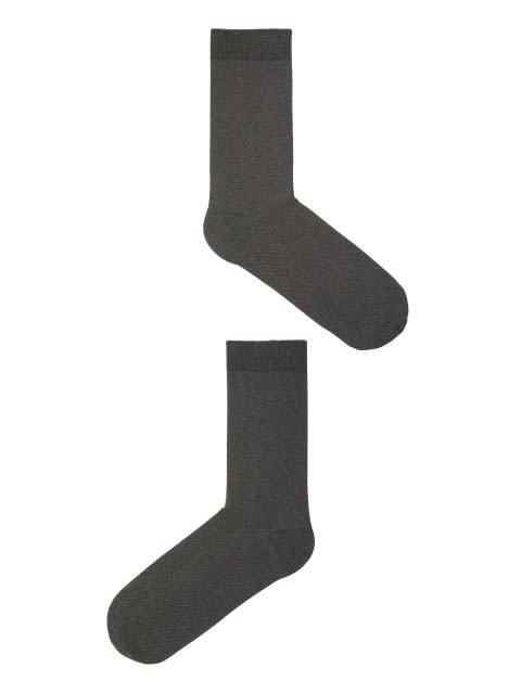 Charcoal Melange Des1 Men Calf Length Socks