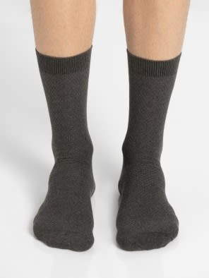 Charcoal Melange Des1 Calf Length Socks