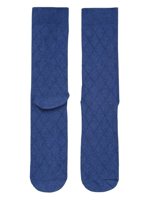 Blue Melange Des2 Men Calf Length Socks