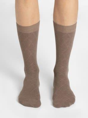 Brown Melange Des2 Men Calf Length Socks
