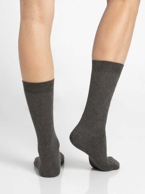 Charcoal Melange Des2 Men Calf Length Socks
