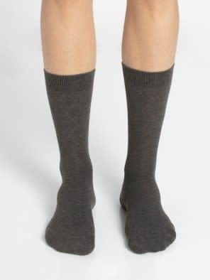 Charcoal Melange Des2 Calf Length Socks
