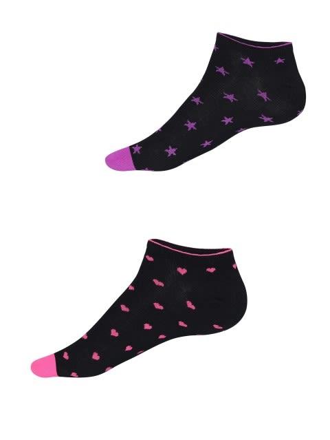 Black Printed Women Low Ankle Socks Pack of 2