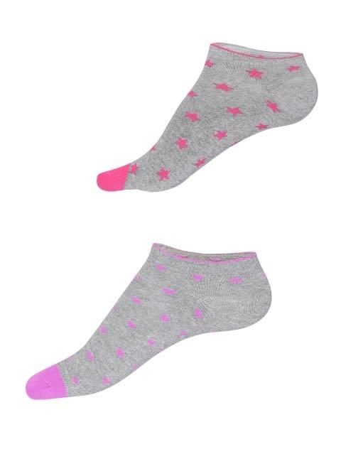 Grey Melange Printed Low Ankle Socks Pack of 2