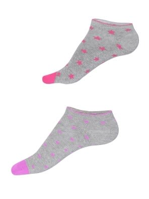 Grey Melange Printed Low Ankle Socks Pack of 2