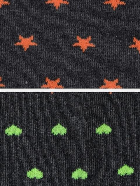 Charcoal Melange Printed Low Ankle Socks Pack of 2