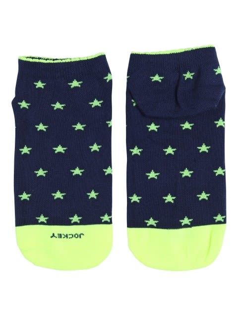 Ink Blue Melange Printed Low Ankle Socks Pack of 2