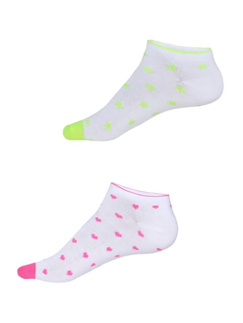 White Printed Women Low Ankle Socks Pack of 2