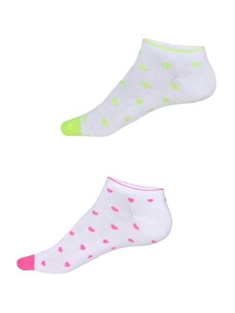 White Printed Low Ankle Socks Pack of 2