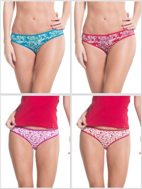 Jockey Print Assorted Bikini Combo - Pack of 4