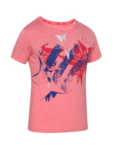 Passion Red Melange Girl's Graphic T-Shirt