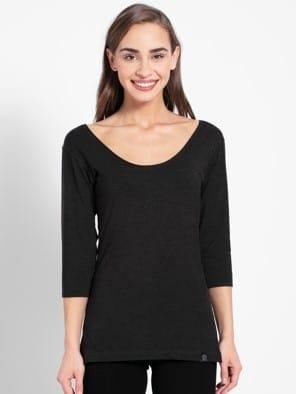 Black Thermal 3 Q Sleeve T-Shirt