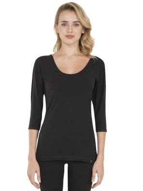 Black Thermal 3 Q Sleeve T-Shirt