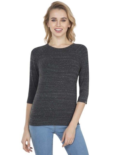 Black Snow Melange 3 quarter Sleeve T-Shirt