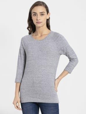 Grey Snow Melange 3 quarter Sleeve T-Shirt