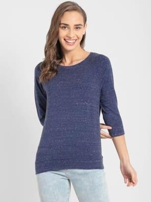 Imperial Blue Snow Melange 3 quarter Sleeve T-Shirt