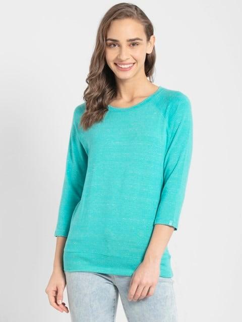 Teal Snow Melange 3 quarter Sleeve T-Shirt