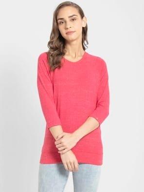 Ruby Snow Melange 3 quarter Sleeve T-Shirt