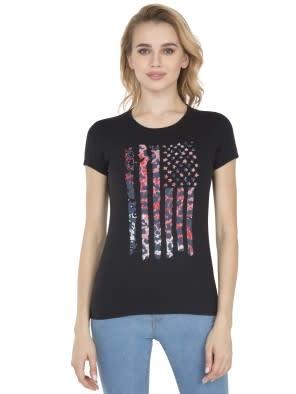 Black Print007 Crew Neck Graphic T-shirt