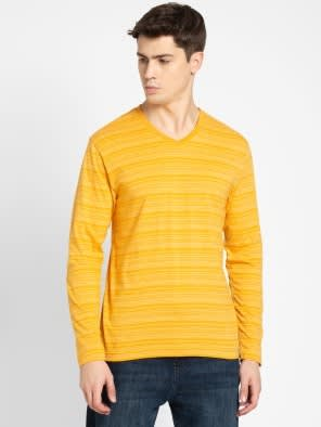 Burnt Gold V-Neck Long Sleeve T-Shirt