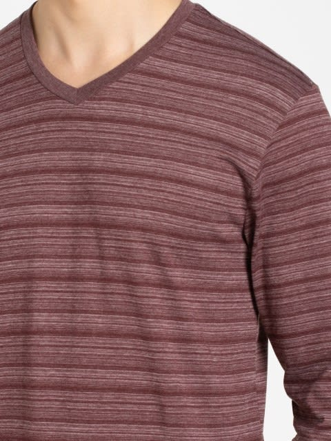 Mauve Wine V-Neck Long Sleeve T-Shirt