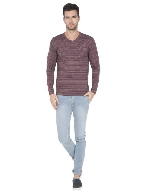 Mauve Wine V-Neck Long Sleeve T-Shirt
