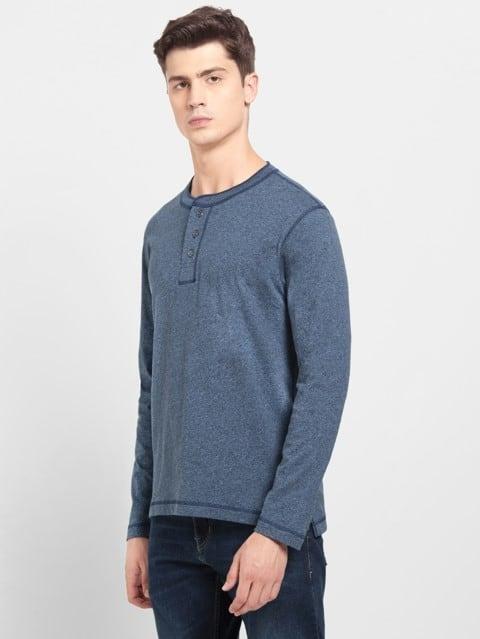 Navy Grindle Long Sleeve Henley T-Shirt