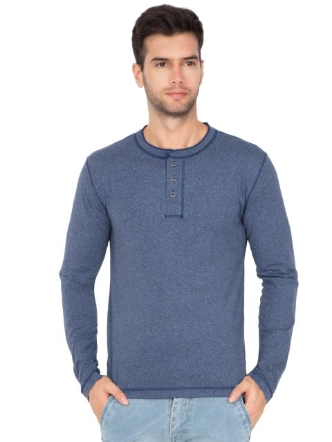 Navy Grindle Long Sleeve Henley T-Shirt