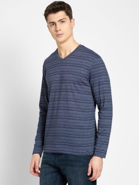 Navy V-Neck Long Sleeve T-Shirt