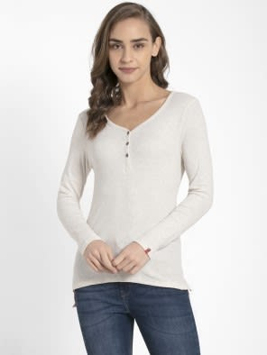 Cream Melange Full Sleeve T-Shirt