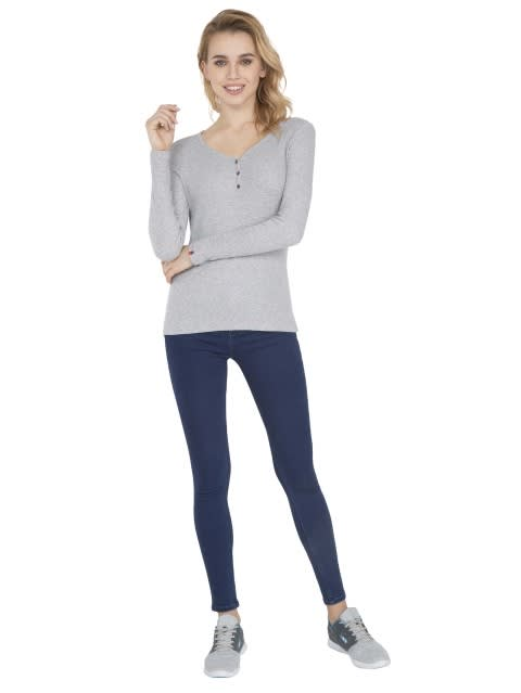 Light Grey Melange Full Sleeve T-Shirt