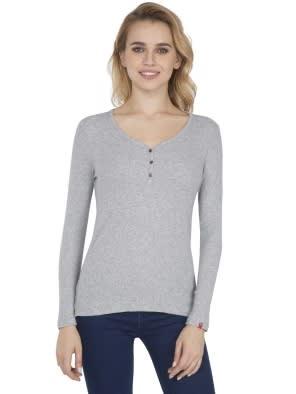 Light Grey Melange Full Sleeve T-Shirt