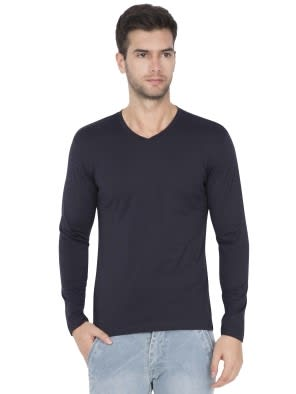 True Navy V-Neck Long Sleeve T-Shirt