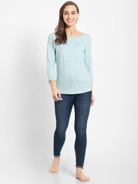 Blue Tint Melange Three Quarter Sleeve T-Shirt