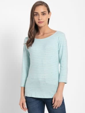 Blue Tint Melange Three Quarter Sleeve T-Shirt