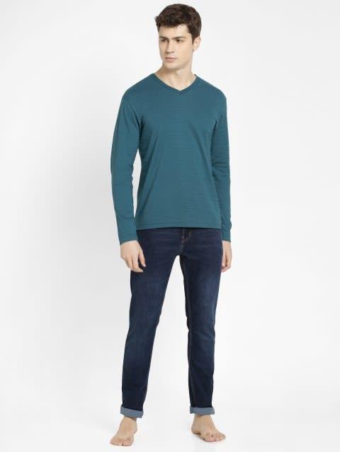 Blue Coral V-Neck Long Sleeve T-Shirt