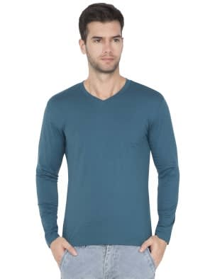 Blue Coral V-Neck Long Sleeve T-Shirt