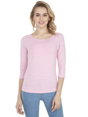 Pink Lady Melange Three Quarter Sleeve T-Shirt