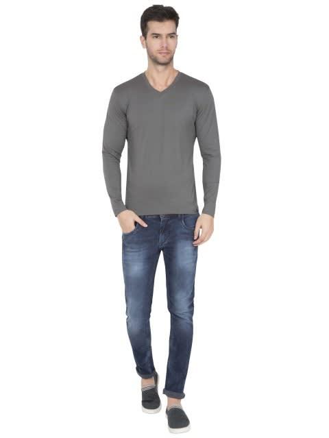 Gunmetal V-Neck Long Sleeve T-Shirt